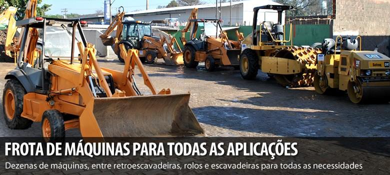 Diversas máquinas pesadas para a execução de qualquer obra. São Retroescavadeiras, rolos compressores e escavadeiras.